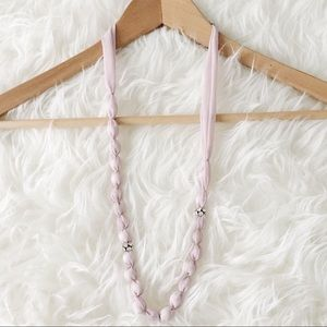 Soft Lavender Fabric Covered Bead Necklace